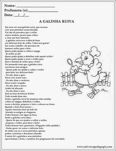 Resultado de imagem para conto a galinha ruiva 3 ano texto interpretação gramatica portuguesa arters historia geografia e ciências