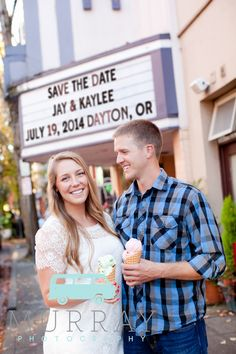 Murray Photography Oregon wedding photography. Willamette Valley. Engagement photos session pose idea. Save the date. Movie theater sign. Ice cream cones.