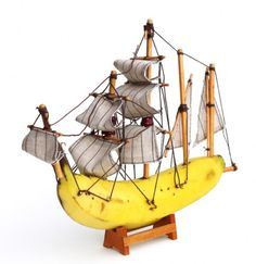 Make your own banana boats - literally. Using a banana, pencils, and some old material
