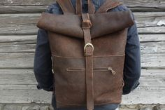 Brown leather backpack by LamaAtelier on Etsy