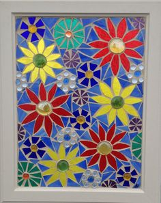 Daisy Stained Glass Mosaic Panel - Colorful Daisies Mosaic  - Home Decor Window Hanging by NiagaraGlassMosaics on Etsy