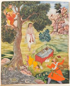 """Tale of the Cunning Siddhikari""s From a Kathasaritsagara, circa 1590. At LACMA. Siddhikari stole the merchants' treasure, convinced a prospective thief to hang himself, hid in a tree, and bit off the tongue of one of the merchant's servants."