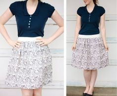 20-minute skirt tutorial I already know. Make matching skirt for each of the maids in fall fabric. Maids only need to buy the same blouse from a local store (and slip if needed) and wear shoes they already have that match. Easy, cute, custom-tailored by yours truly, modest, and saves everyone money and hassle!