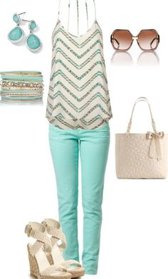 Stunning Combination For Spring And Summer... Love the wedges