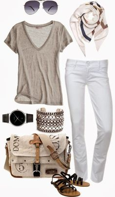 nice Casual and Comfy Fall Outfit With Shades and Handbag...