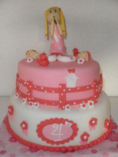 sweet pink/red girly cake  (Kruimeldiefjes)