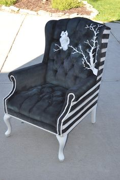 Cassandra Design: Black & White Spray Painted/Hand Painted Tufted Wingback Halloween Chair
