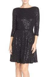 Maia Sequin Jersey Fit & Flare Dress