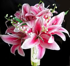 Natural Touch Hot Pink STARGAZER Lilies Bouquet