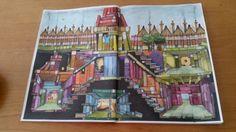 Colin Thompsons / Fantastisches Malbuch Seite 5 - Die Bücherstadt,  gemalt mit Koh-I-Noor und Ergo-soft Farben