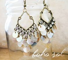 Crystal and Mother of Pearl Chandelier Earrings, Unique Shell Dangle Earrings Set in Antique Brass - Gorgeous Boho, Beach, Stylish Earrings by BohoSol on Etsy