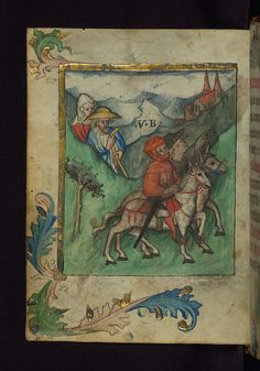 Illuminated manuscript, Prayer book of Bishop Leonhard von Laymingen of Passau, Journey of Pilgrims over the Alps, Walters Manuscript W.163, fol. 1v   Flickr - Photo Sharing!