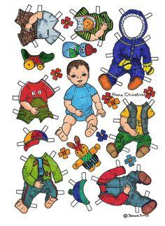 Karen`s Paper Dolls: Hans Christian 1-2 Paper Doll in Colours. Påklædningsdukke Hans Christian 1-2 i farver.