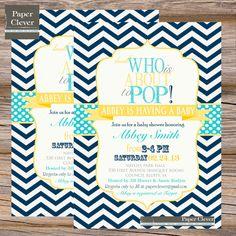 Boys baby shower invitation about to pop, chevron stripe, navy blue, yellow, aqua - digital, printable. $13.00, via Etsy.