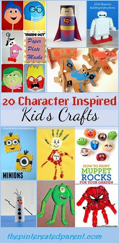 20 Character Inspired Kid's Crafts Inspired by Disney, Pixar, Dr. Suess & more...