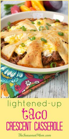 Your busiest weeknights just got a little bit easier, thanks to this Lightened-Up Taco Crescent Casserole! It's a simple, family-friendly, and nutritious way to get dinner on the table fast!