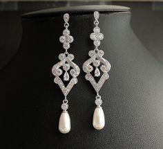 Wedding Pearl Jewelry Bridal Earrings Cubic by poetryjewelry, $56.50