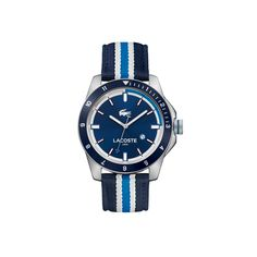 Montre Durban avec date et bracelet bleu et blanc en textile   LACOSTE
