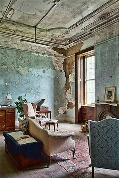 """Trans-Alleghany asylum in Weston, West Virginia: """"The nicely decorated rooms with furniture were the wings for the male doctors and their families. Female nurses, on the other hand, lived in spartan rooms that took most of their wages. Abandoned Buildings, Abandoned Asylums, Abandoned Places, Distressed Walls, Cheap Home Decor, Old Houses, Home Remodeling, Interior And Exterior, Living Spaces"""