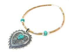 Portuguese natural cork,Turquoise and cork heart necklace, handmade, original, natural, soft, eco-friendly materials bracelet