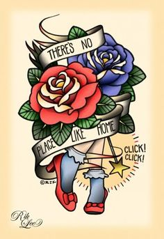 there's no place like home tattoo painting ~ This print is adorable and was done SO beautifully!  It was done by an artist named Rik Lee.  You should really go to the link and check out his other work out.  All of his paintings are so clean.