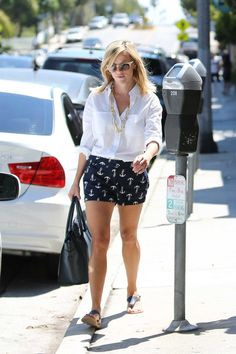 Reese Witherspoon's Blue Anchor Shorts, Bag and Sunglasses Worn on 9/7/13