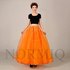 New Long Orange Tulle Petticoat Crystal Crinoline Skirts Underskirt Accessories in Clothes, Shoes & Accessories, Wedding & Formal Occasion, Bridal Accessories | eBay