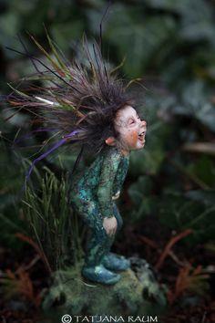 Sweet laughing pixie boy miniature artwork by Tatjana Raum