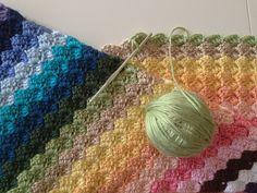 Crochet diagonal rainbow blanket using free red heart pattern: Corner-to-Corner Afghan by Sandra Cole C2c Crochet, Manta Crochet, Love Crochet, Crochet Blanket Patterns, Baby Blanket Crochet, Crochet Stitches, Crochet Baby, Crochet Afghans, Crochet Blankets