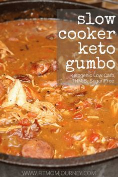 This Slow Cooker Keto Gumbo is not only fast and easy to make, it's delicious! Simply throw all the ingredients - minus the shrimp - in a slow cooker, then add the shrimp and cauliflower rice 20 minutes before serving. Keto Gumbo Recipe, Keto Shrimp Recipes, Ketogenic Recipes, Low Carb Soups, Low Carb Soup Recipes, Healthy Recipes, Cauli Rice, Quinoa Rice, Cauliflower Rice