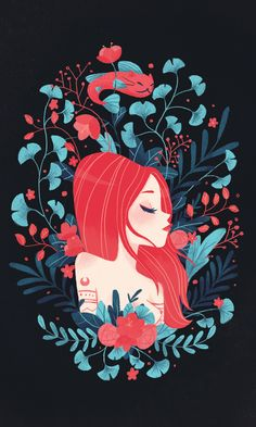 Redhead lady and Catfish postcard on Behance by Gemma Román