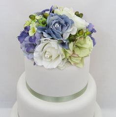 Wedding Cake Topper  Periwinkle Blue Green by ItTopsTheCake
