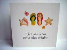 £1.50  www.beadazzledesigns.co.uk  Beach Wedding Invitation