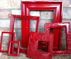 Upcycled Frames Vintage Red Frames Unique Home Decor by FeFiFoFun, $44.00