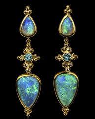 Art Deco opal and gold dangling gold earrings