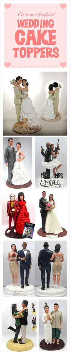 Not that I'm getting married but these are too cool!! They make custom sculpted wedding cake toppers from photos of the bride and groom. #wedding #unique
