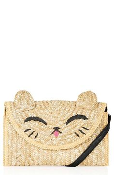Topshop 'Happy Cat' Embroidered Straw Clutch available at #Nordstrom