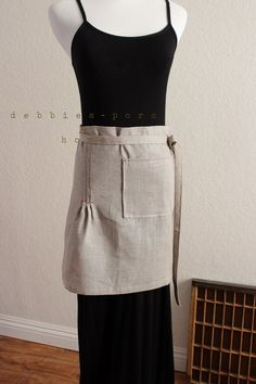 natural linen cafe apron by debbiesporch on Etsy, $35.00
