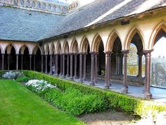 Monastery Cloister at the top of Mont Saint-Michel, France