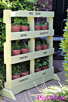 Recycled pallet made into a free standing herb garden.