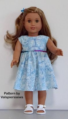 2059 / 1859 Tiered Dress, Fits Popular and Dolls, Easily adjusted for baby doll, Valspierssews and Clothes Pattern Baby Clothes Patterns, Clothing Patterns, Doll Patterns, Baby Girl Names Classic, School Summer Dresses, American Girl Doll Julie, Baby Clothes Storage, Add Sleeves, Baby Girl Quilts