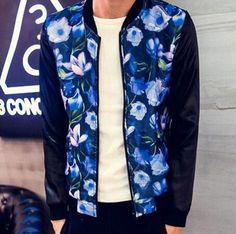 Cool flower bomber jacket for men splicing jacket coat