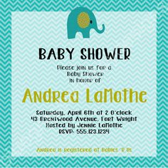 Baby Shower - Elephant, Aqua/ Teal Chevron & Puce/ Pea Green Invitation by BluegrassWhimsy, $15.00