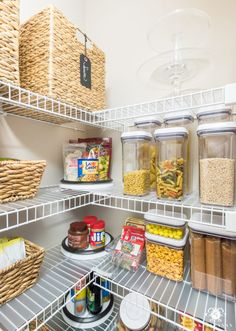 pantry shelving Reach-in pantries are tough. Practical ways that are easy to keep up with for the new year, here are nine ideas to organize a small pantry with wire shelving. Kitchen Organization Wall, Small Pantry Organization, Pantry Ideas, Organized Pantry, Organization Ideas, Storage Ideas, Pantry Storage, Pantry Diy, Pantry Closet