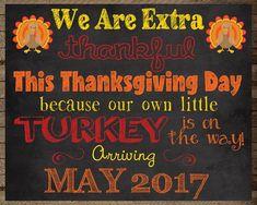 318db560f Thanksgiving Pregnancy Announcement, turkey pregnancy, digital print  pregnancy chalkboard, pregnancy reveal, new baby sign, turkey, Fall