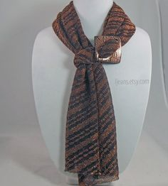 Copper Metallic Scarf Buckle and Earrings by ljeans on Etsy