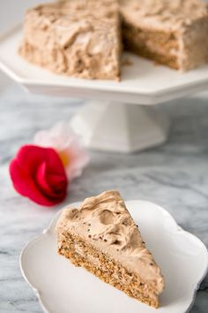German-style torte cake with ground walnuts and whipped egg whites making up the cake and a mocha whipped cream frosting. Delicious! On SimplyRecipes.com