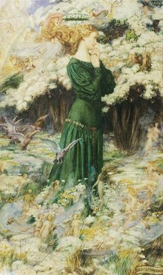 The Lover's World by Eleanor Fortescue Brickdale.  Lizzy made a card for my wedding day with this picture on.