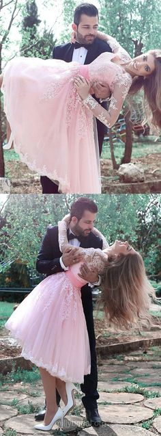 Famous Short Homecoming Dresses,A-line V-neck Cocktail Club Dress,Tulle Knee-length Formal Dress,Appliques Lace Party Gowns, Pink Long Sleeve Prom Dresses