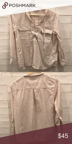 Madewell Pink Pinstripe Pocket Lace-up Top White with dusty pink pinstripes, front pockets, lace-up front Madewell Tops Blouses